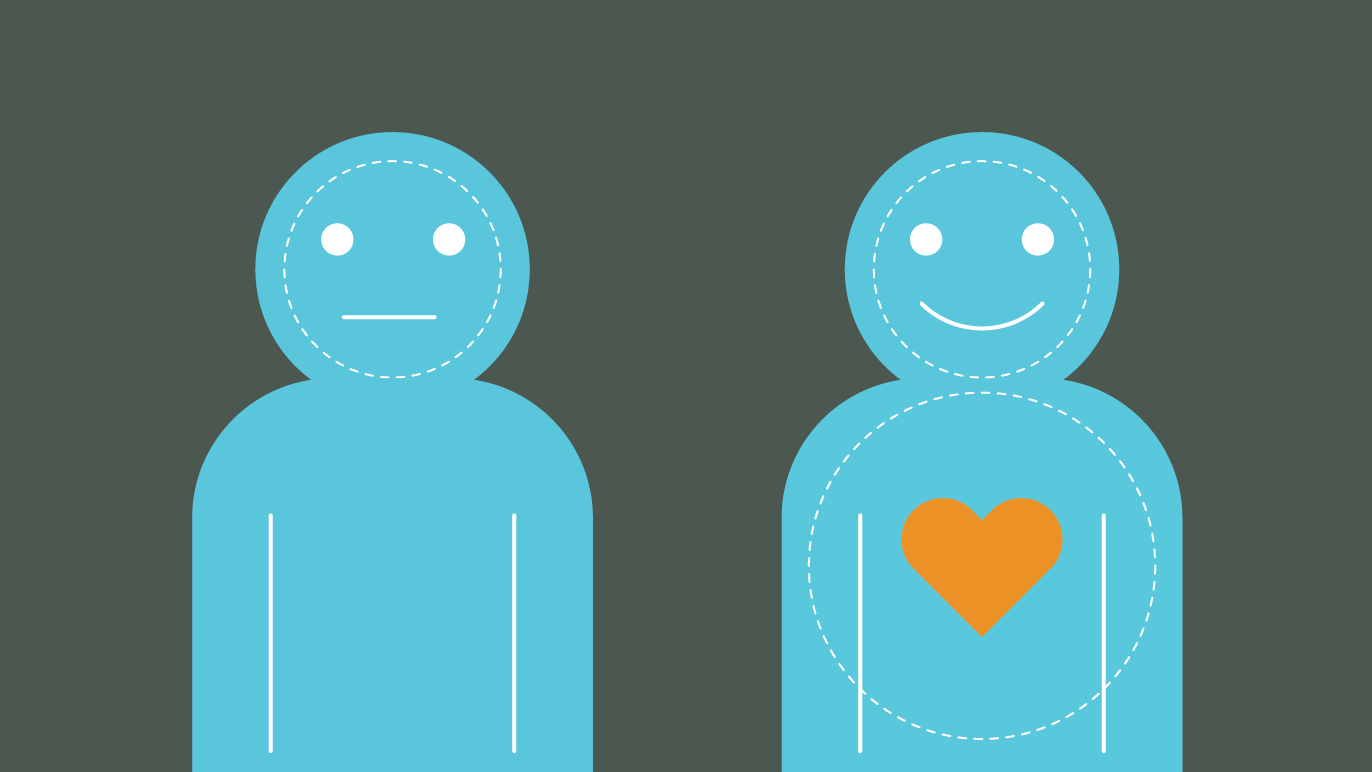 Illustration of two people, one with a love heart and smiley face