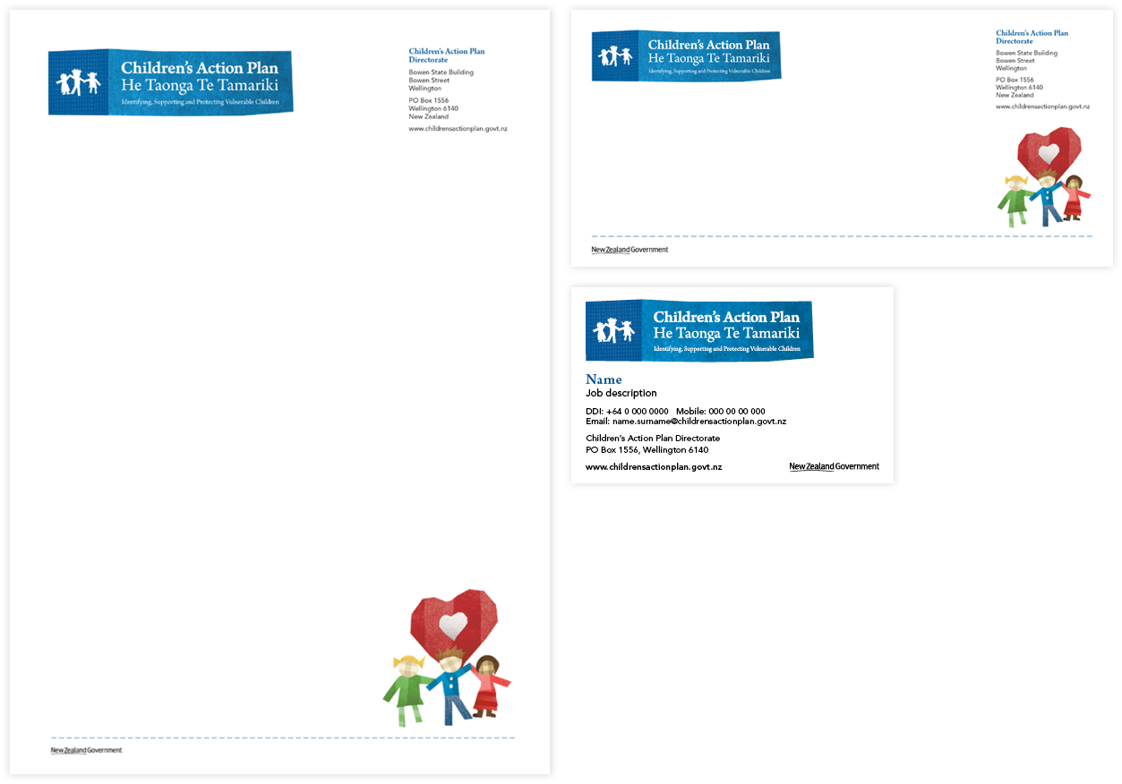 Children's Action Plan brand stationery