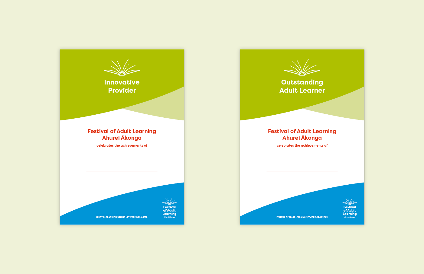 ACE Aotearoa Festival of Adult Learning rebrand - new certificates