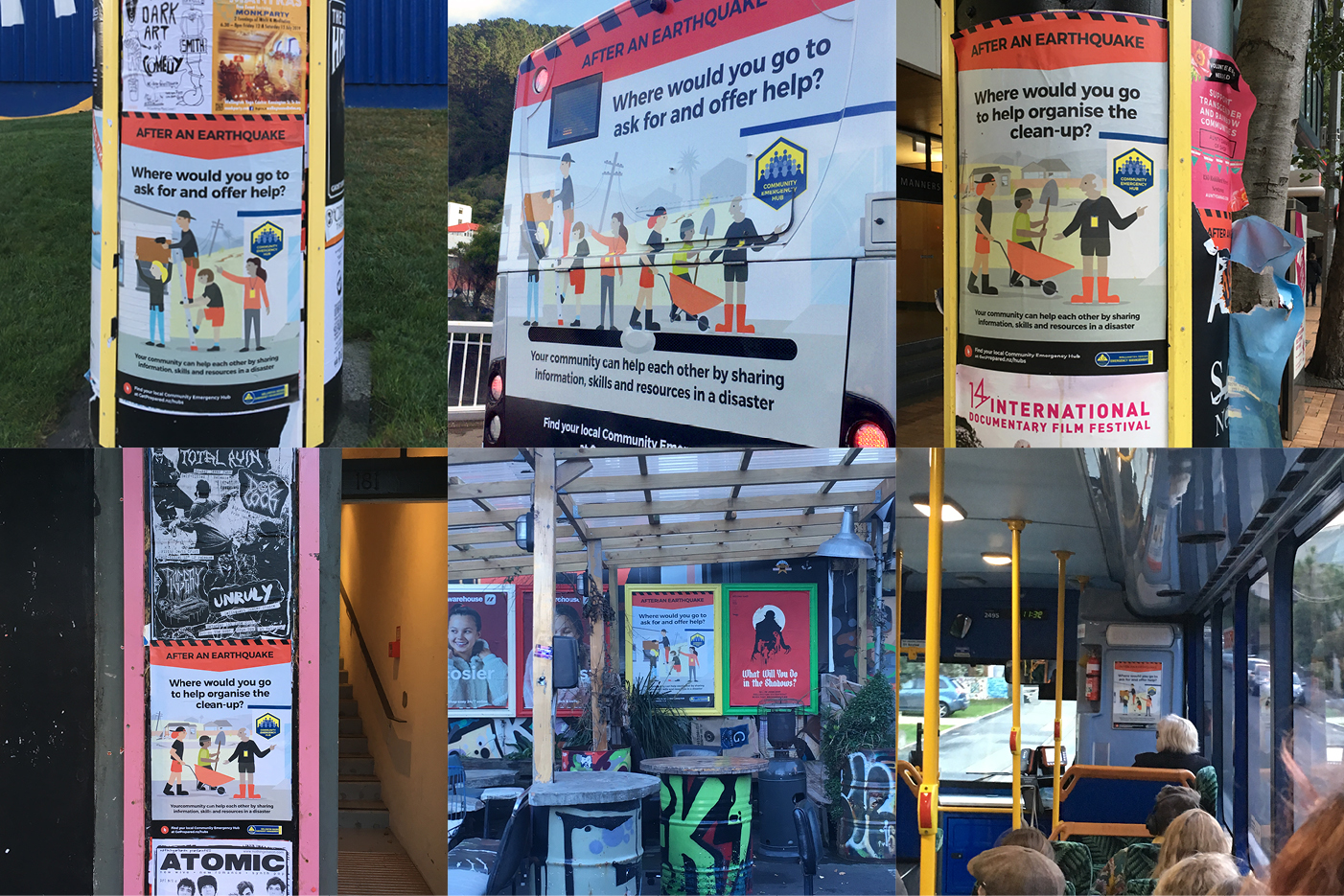 Posters and bus back from the WREMO Community Emergency Hubs campaign all over town